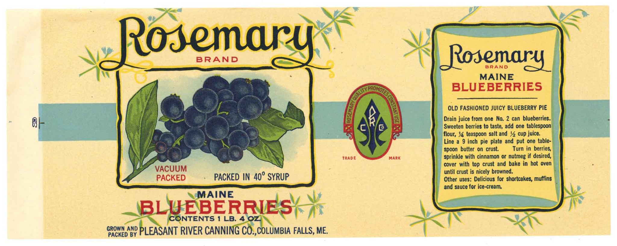 Rosemary Brand Vintage Maine Blueberry Can Label