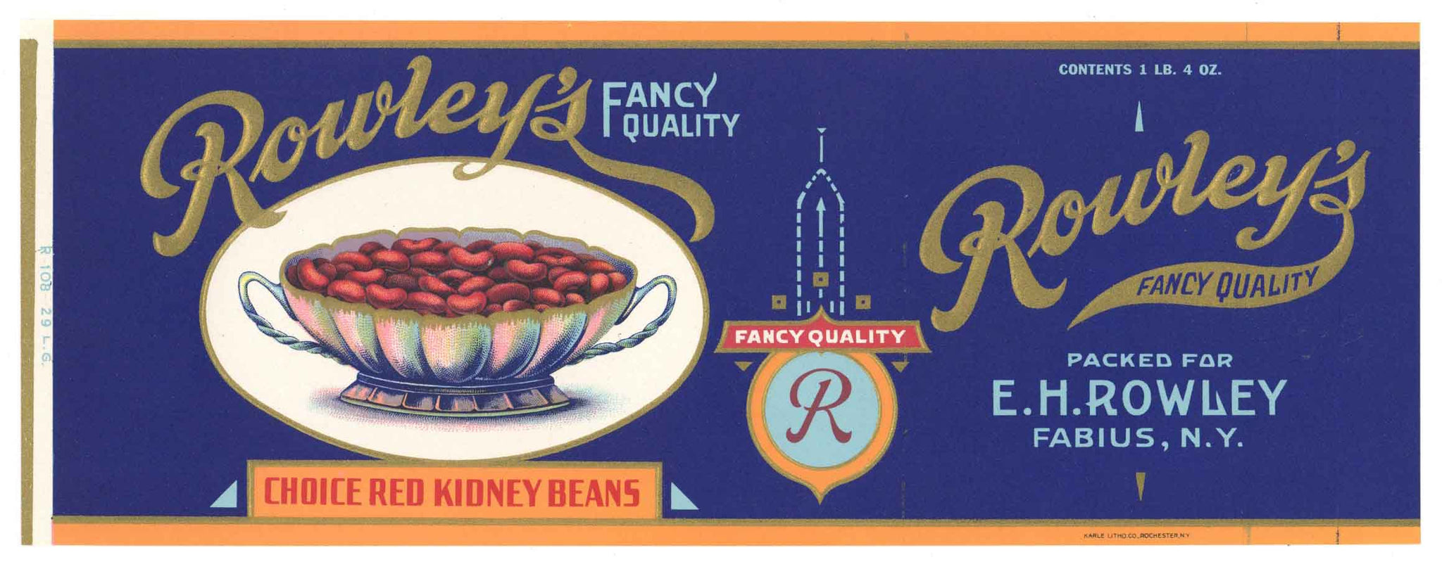Rowley's Brand Vintage New York Kidney Beans Can Label