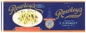 Rowley's Brand Vintage New York Wax Beans Can Label