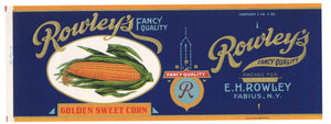 Rowley's Brand Vintage New York Golden Sweet Corn Can Label