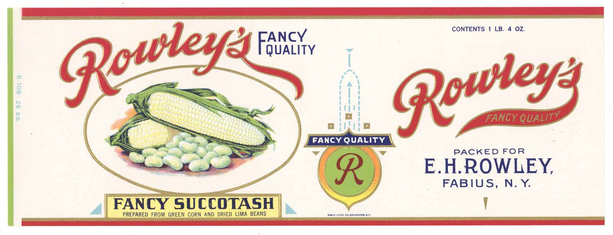 Rowley's Brand Vintage New York Succotash Can Label