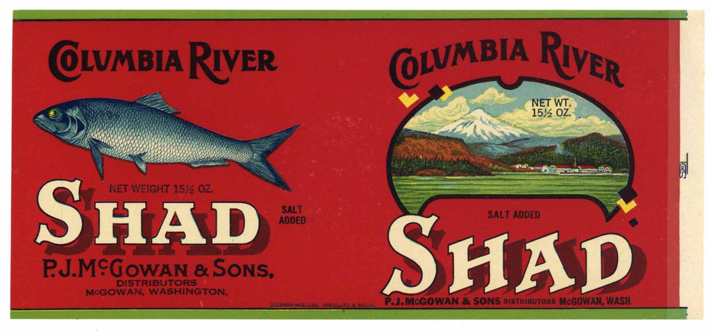 Columbia River Brand Vintage Washington Shad Can Label