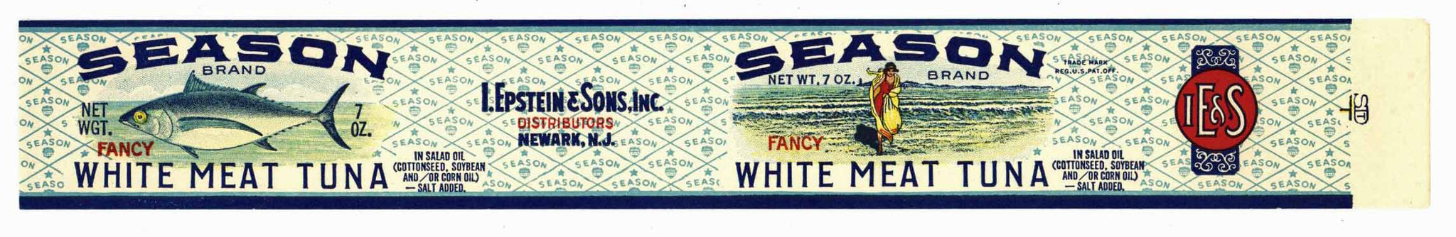 Season Brand Vintage New Jersey Tuna Can Label