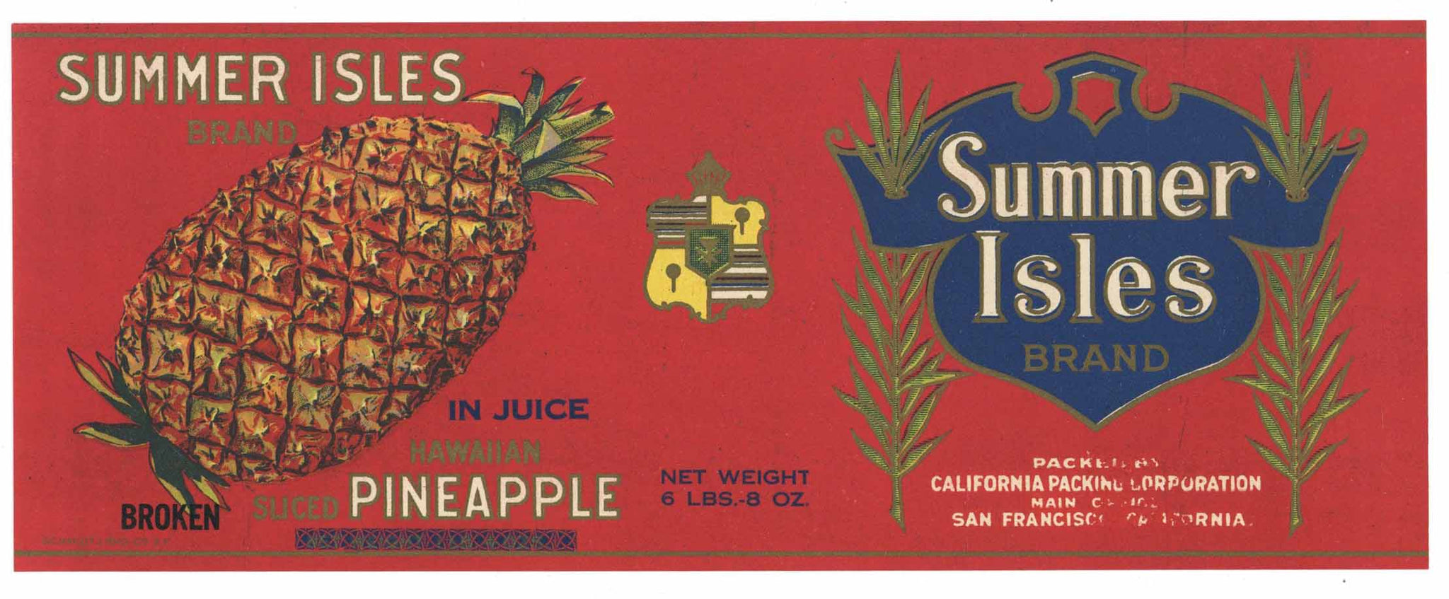 Summer Isles Brand Vintage Hawaiian Pineapple Can Label
