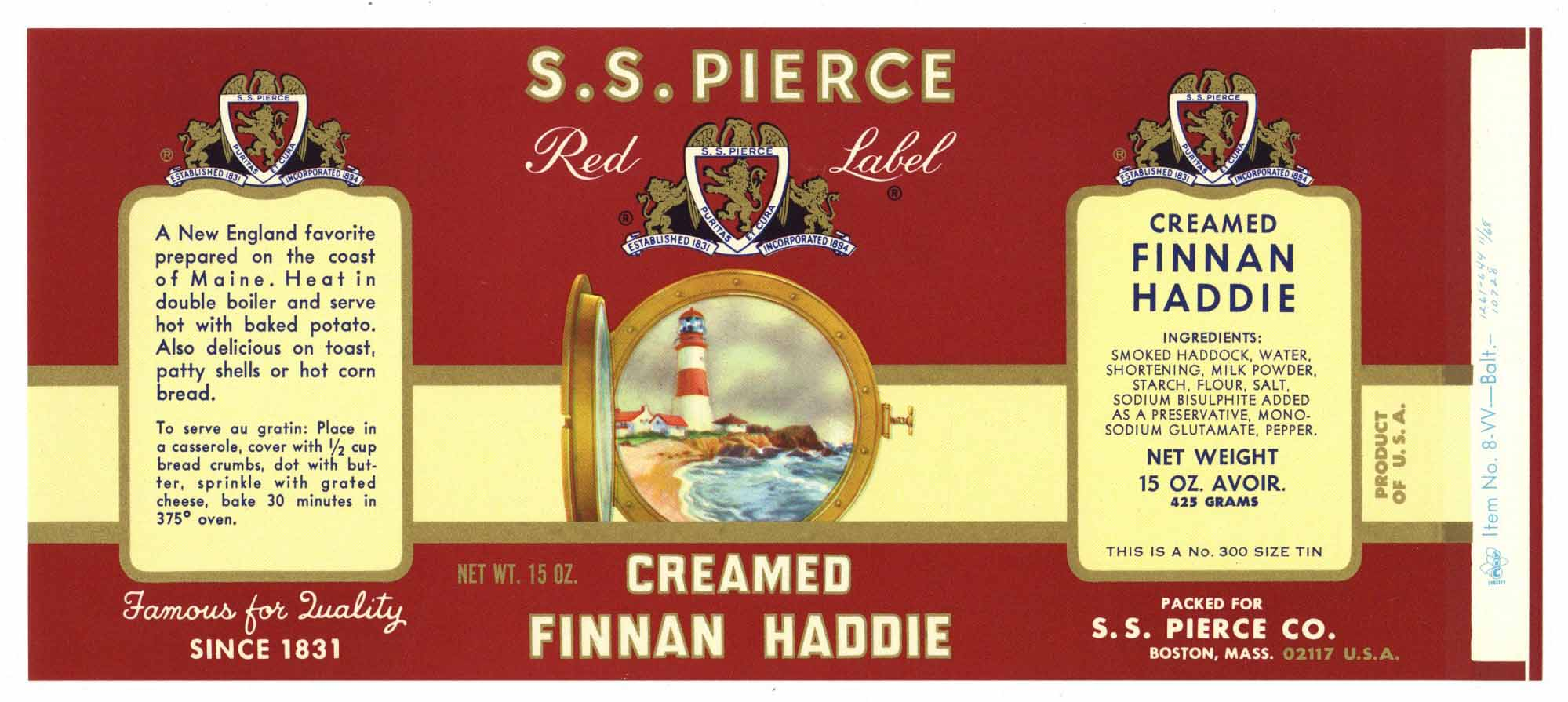 S. S. Pierce Brand Vintage Boston Finnan Haddie Fish Can Label