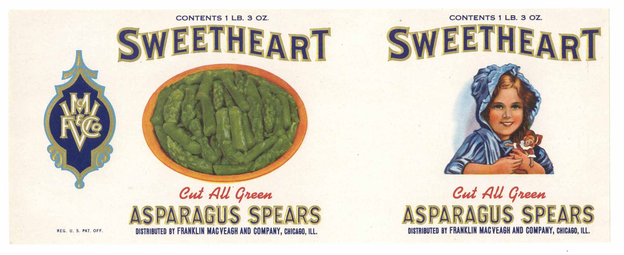 Sweetheart Brand Vintage Asparagus Can Label