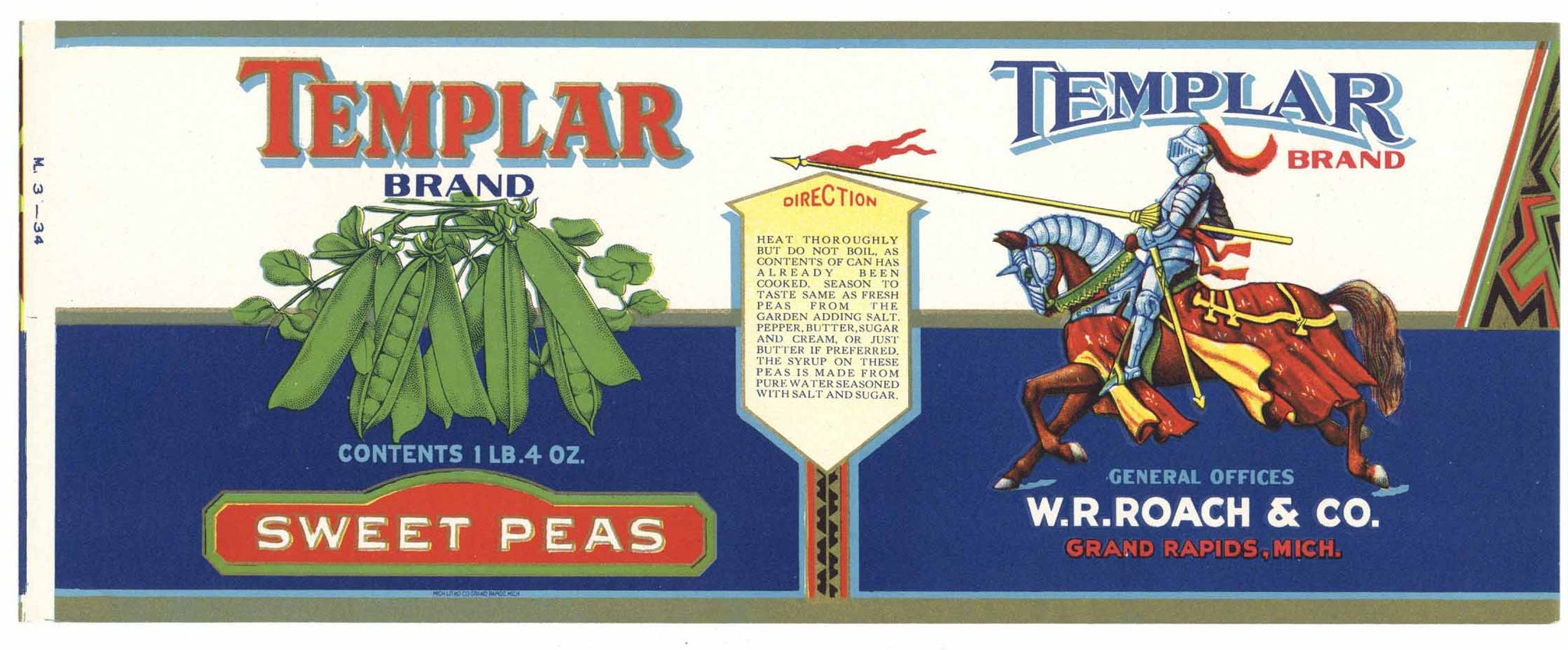 Templar Brand Vintage Grand Rapids Michigan Peas Can Label