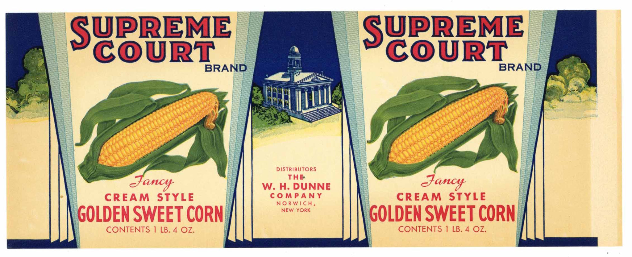 Supreme Court Brand Vintage Norwich New York Corn Can Label