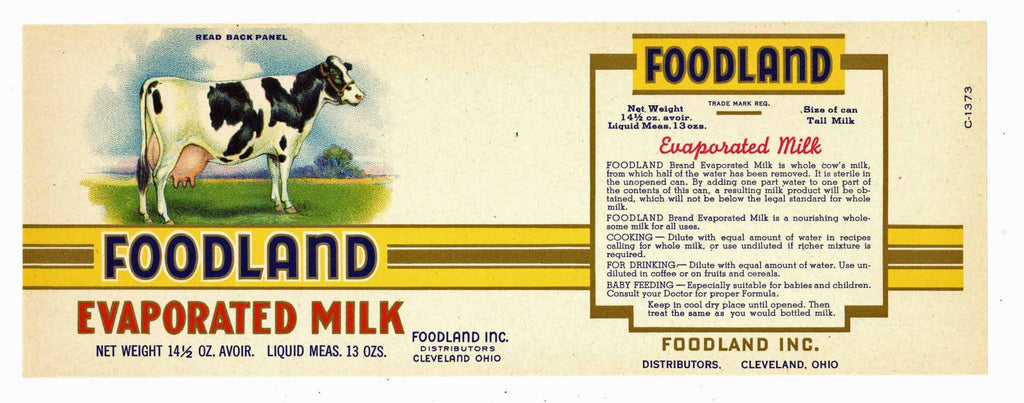 Foodland Brand Vintage Cleveland Ohio Milk Can Label