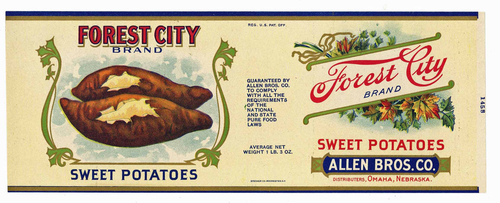Forest City Brand Vintage Nebraska Sweet Potato Can Label