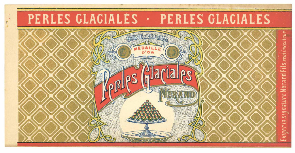 Perles Glaciales  Brand Vintage French Candy Can Label