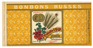 Bonbons Russes Brand Vintage French Candy Can Label