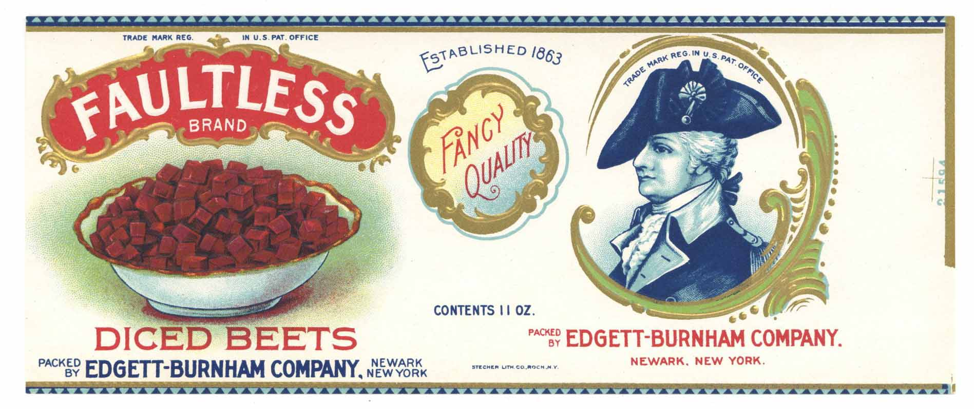 Faultless Brand Vintage Newark New York Diced Beets Can Label