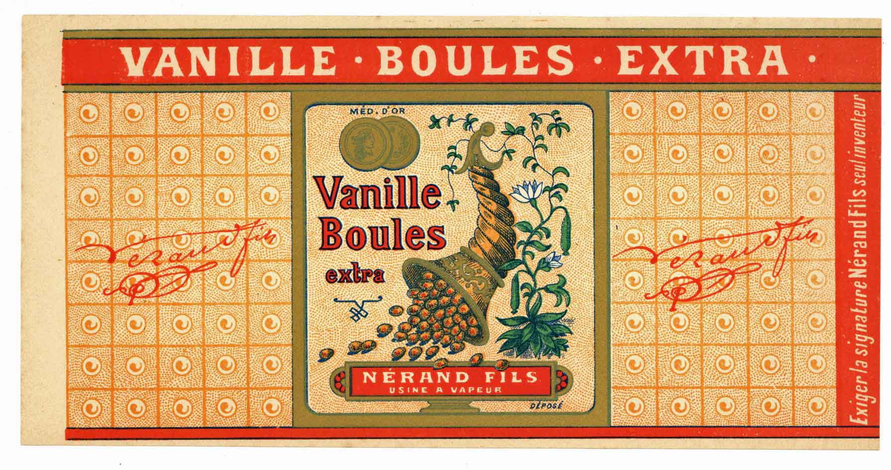 Vanille Boules Extra Brand Vintage French Candy Can Label