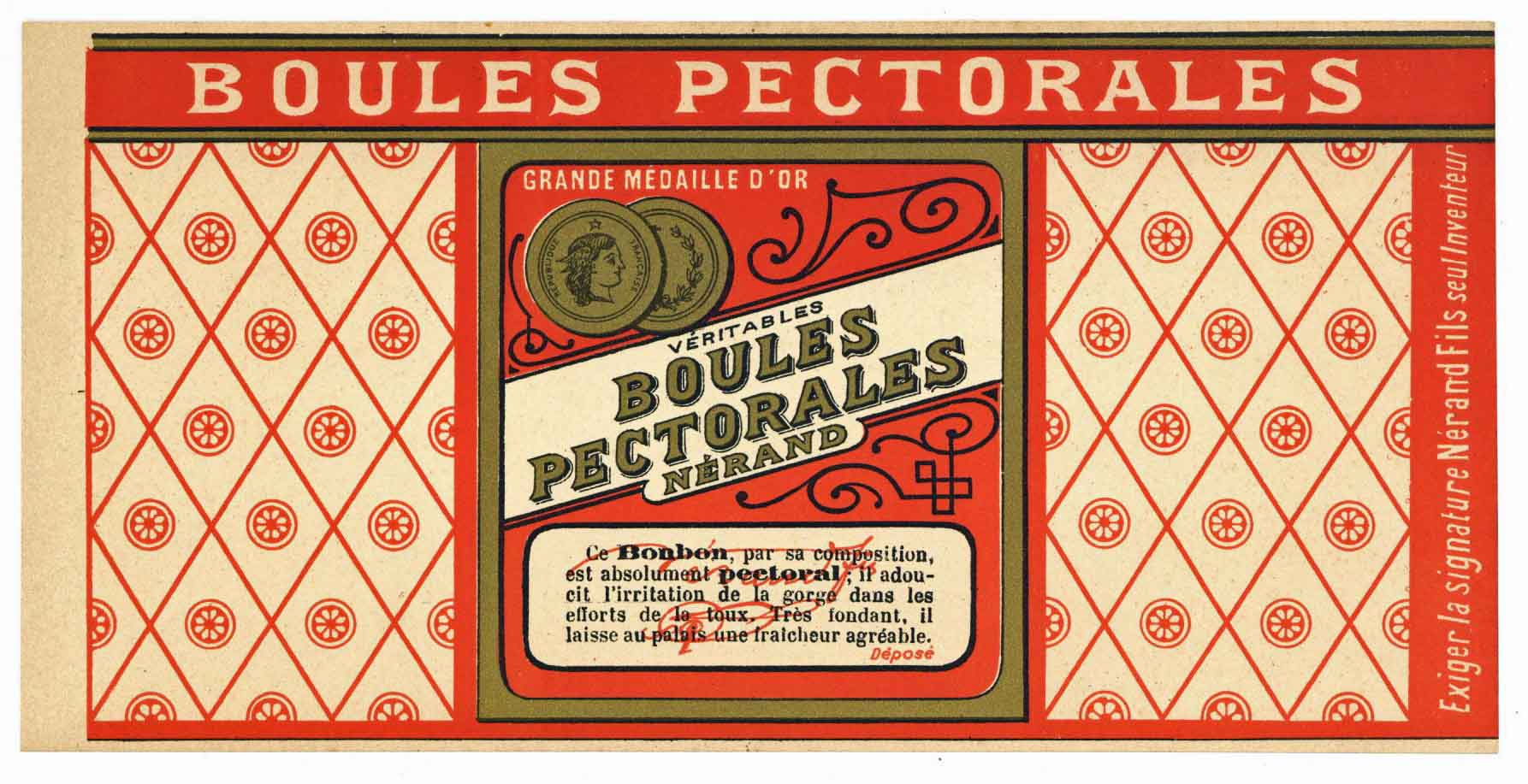 Boules Pectorales Brand Vintage French Candy Can Label