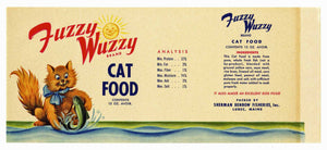 Fuzzy Wuzzy Brand Vintage Maine Cat Food Can Label