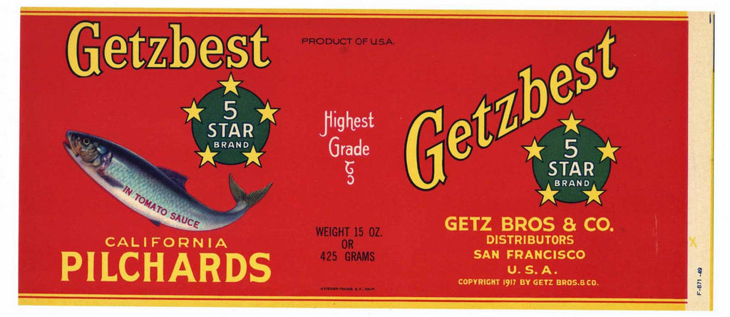 Getzbest Brand Vintage Fish Can Label
