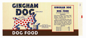 Gingham Dog Brand Vintage Maine Dog Food Can Label