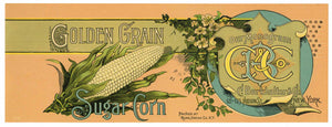 Golden Grain Brand Vintage Rome New York Corn Can Label