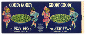 Goody Goody Brand Vintage Peas Can Label