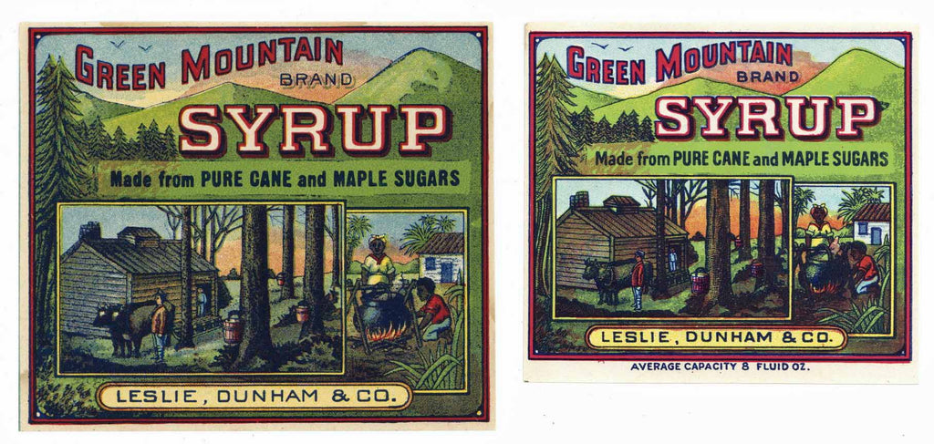 Green Mountain Brand Vintage Syrup Labels, set of two