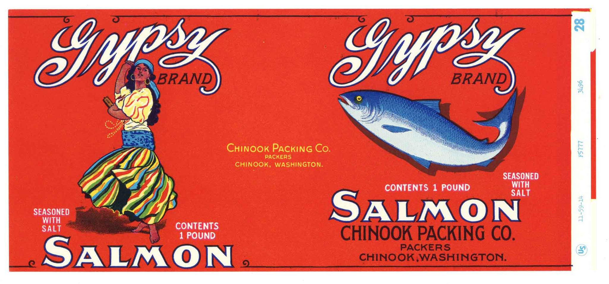 Gypsy Brand Vintage Chinook Washington Salmon Can Label