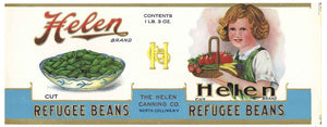 Helen Brand Vintage New York Refugee  Beans Can Label