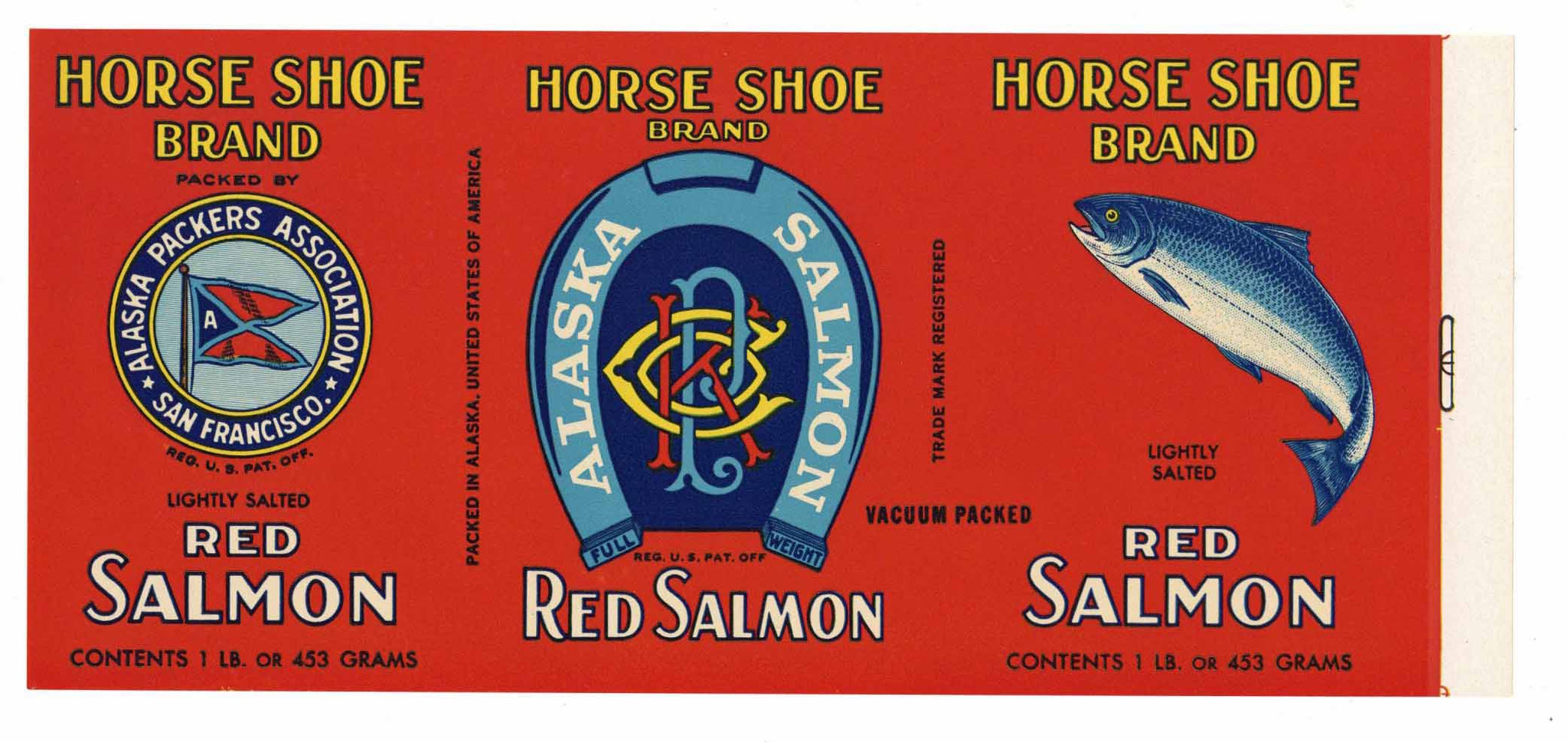 Horse Shoe Brand Vintage Alaska Packers Salmon Can Label