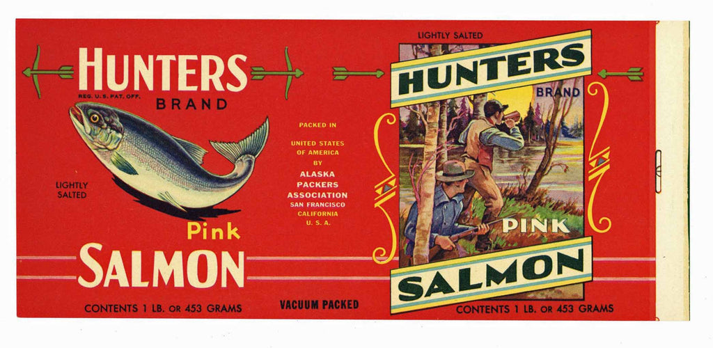 Hunter Brand Vintage Salmon Can Label