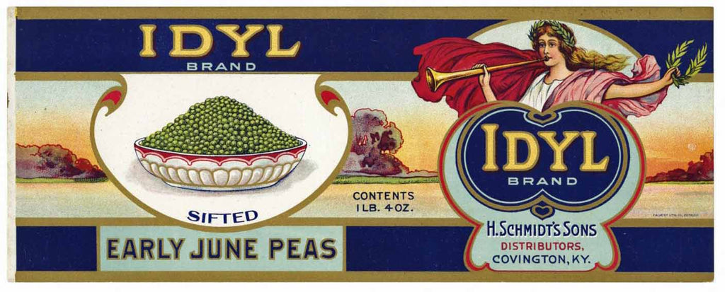 Idyl Brand Vintage Covington Kentucky Peas Can Label