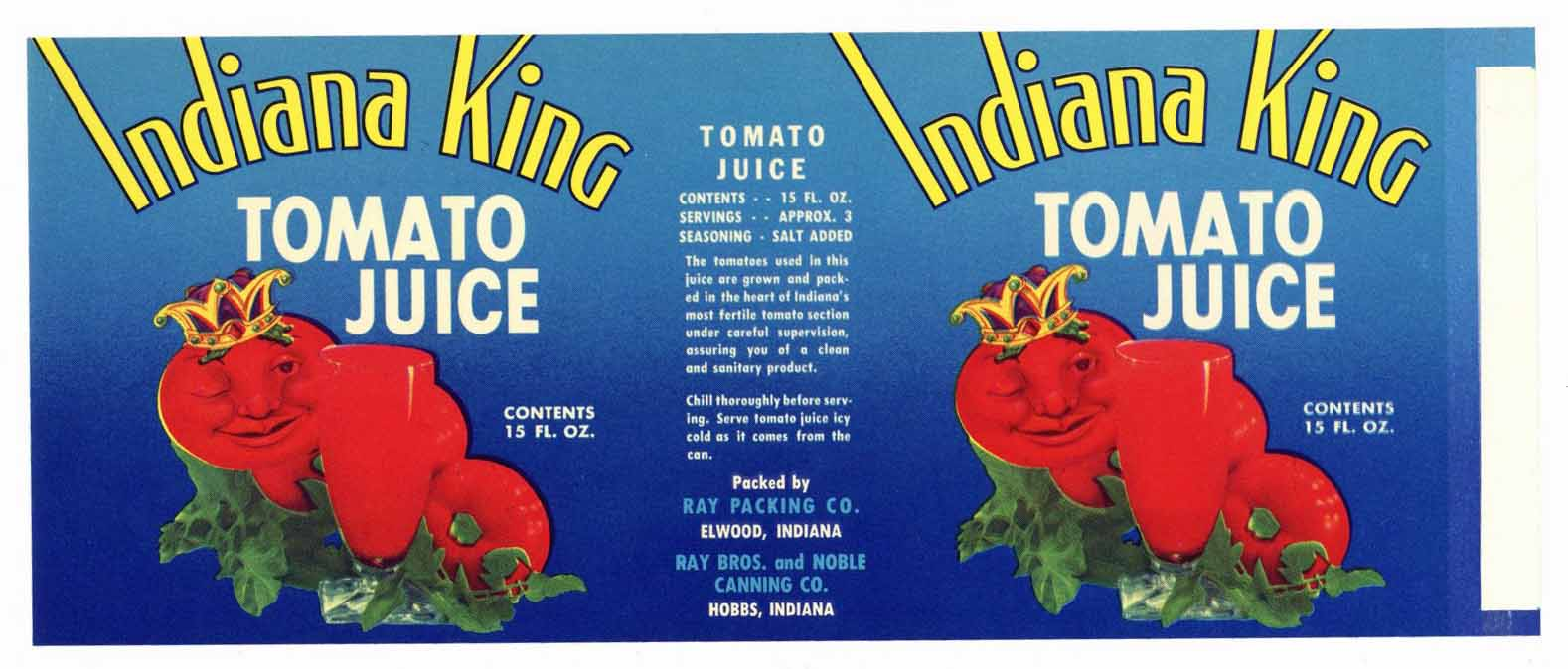 Indiana King Brand Vintage Tomato Juice Can Label
