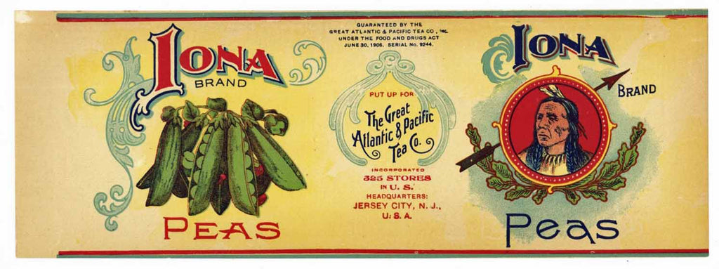 Iona Brand Vintage Peas Can Label, New Jersey