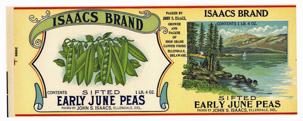 Isaacs Brand Vintage Delaware Pea Can Label