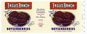 Tagus Ranch Brand Vintage Tulare Boysenberry Can Label