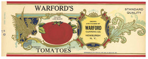 Warford's Brand Vintage Newburgh New York Tomato Can Label