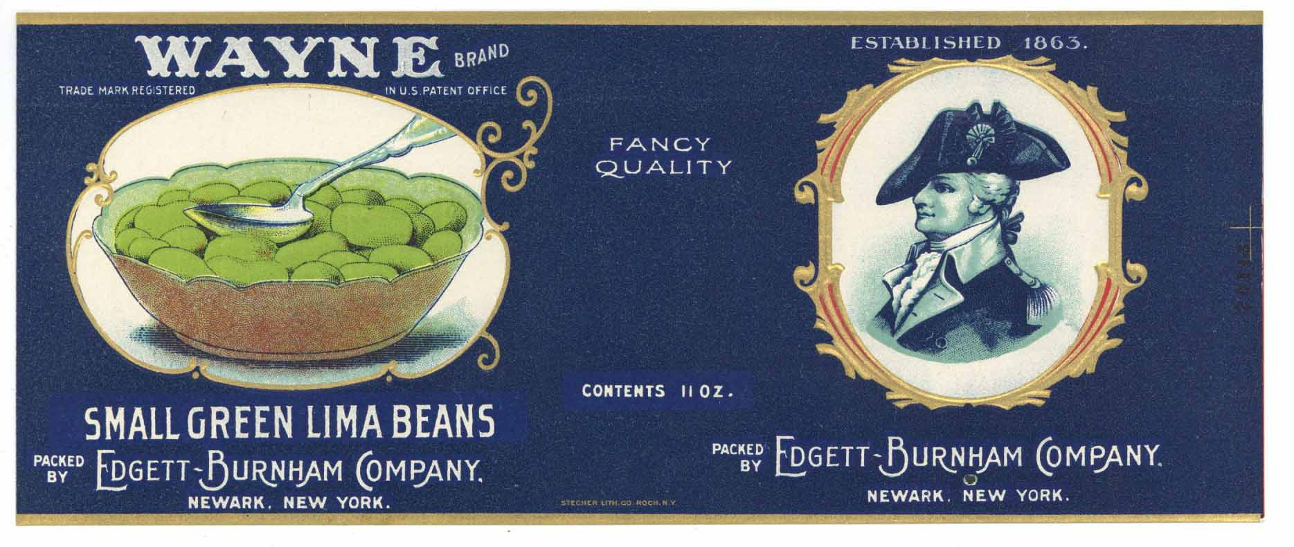 Wayne Brand Vintage Newark New York Small Green Lima Beans Can Label