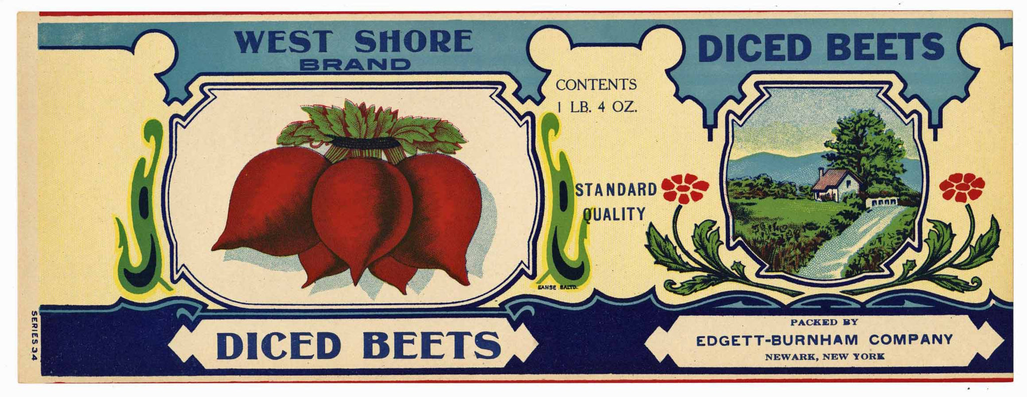 West Shore Brand Vintage Newark New York Beet Can Label