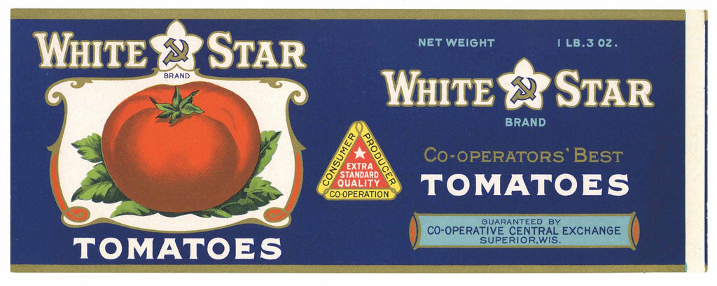 White Star Brand Vintage Superior Wisconsin Tomato Can Label
