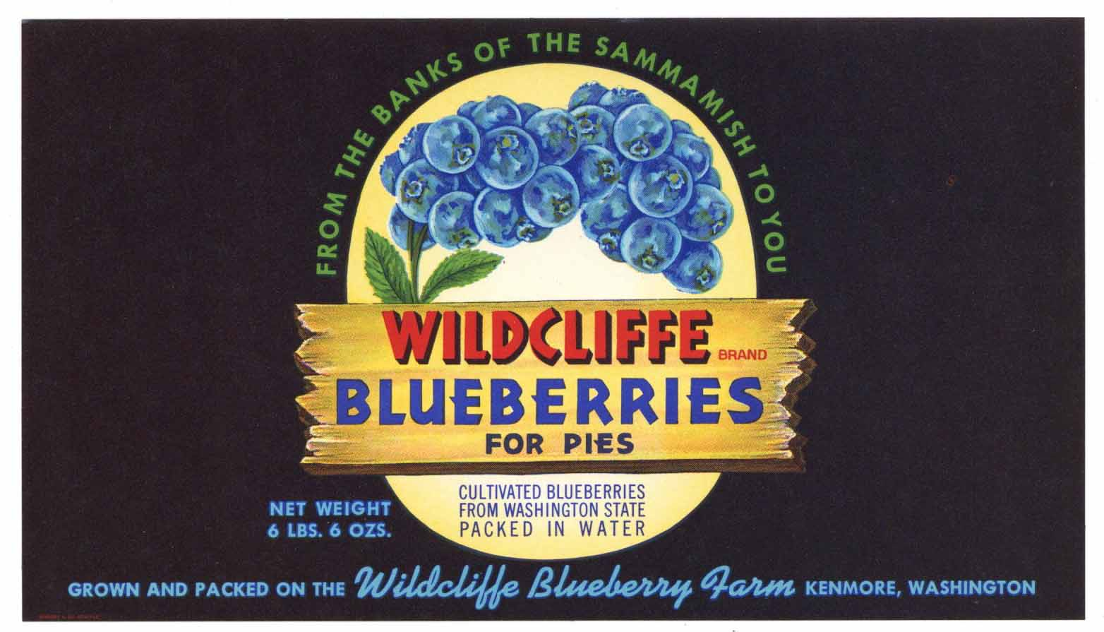 Wildcliffe Brand Vintage Kenmore Washington Blueberry Can Label