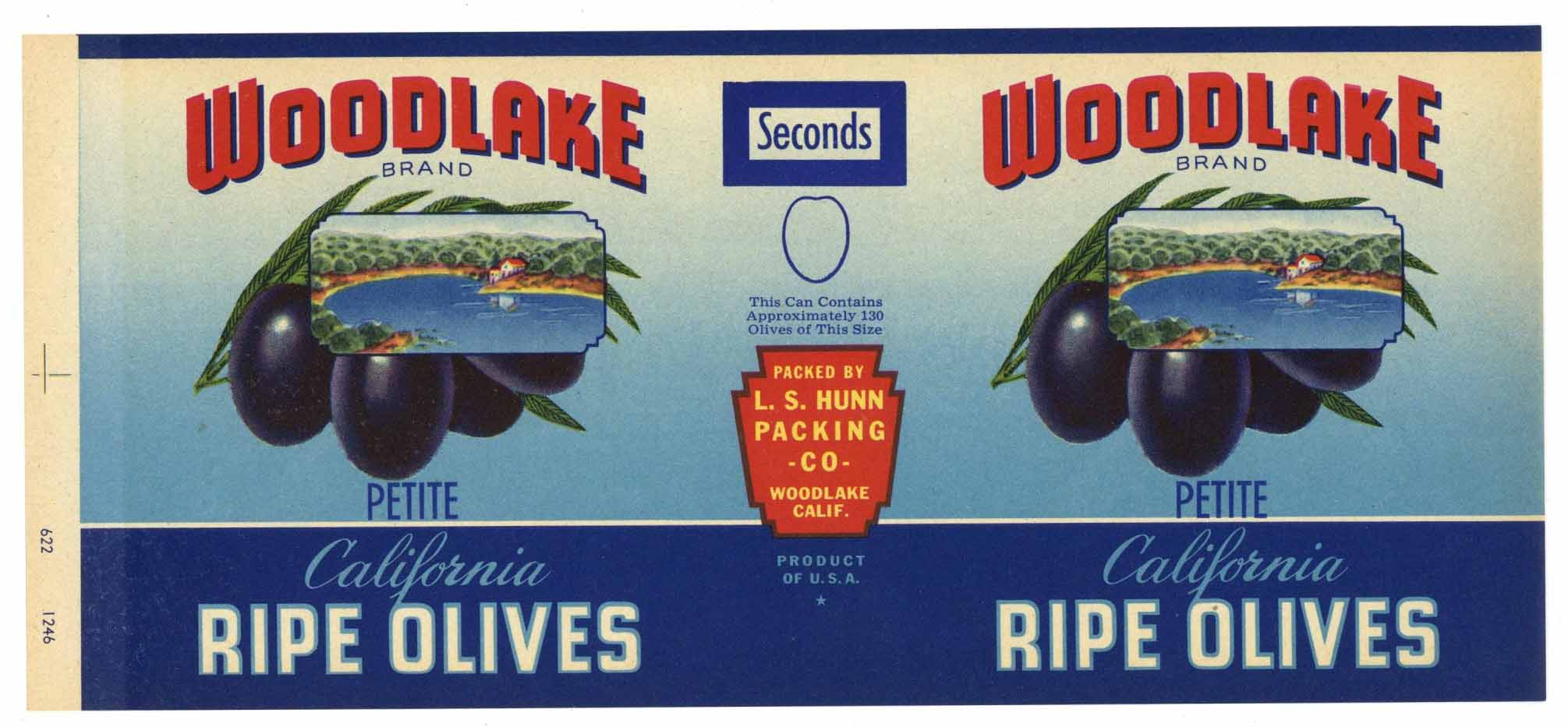 Woodlake Brand Vintage Ripe Olives Can Label