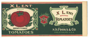Xlent Brand Vintage Preston Maryland Tomato Can Label