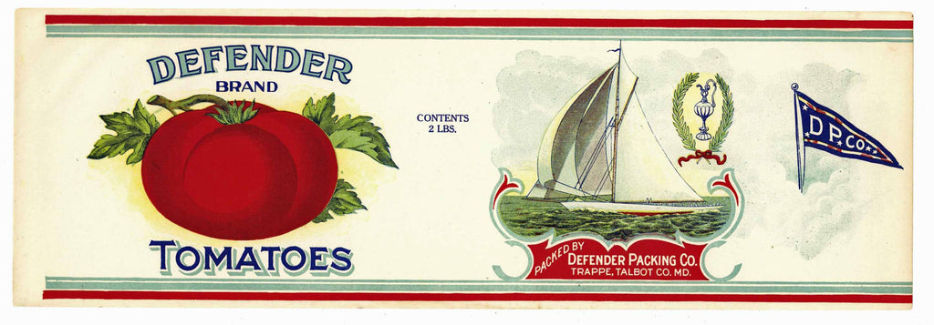 Defender Brand Vintage Maryland Tomato Can Label, white, large