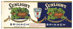 Sunlight Brand Vintage Sacramento Spinach Can Label
