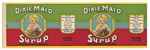 Dixie Maid Brand Vintage Georgia Cane Syrup Can Label