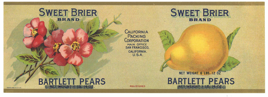 Sweet Brier Brand Vintage Pear Can Label