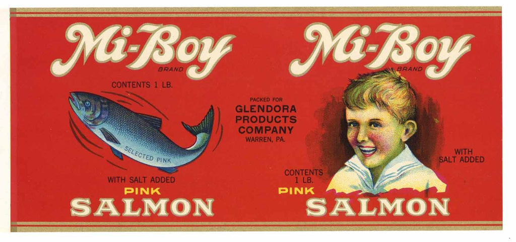 Mi-Boy Brand Vintage Salmon Can Label