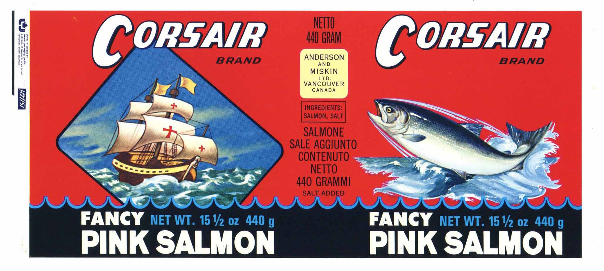 Corsair Brand Vintage Canadian Salmon Can Label