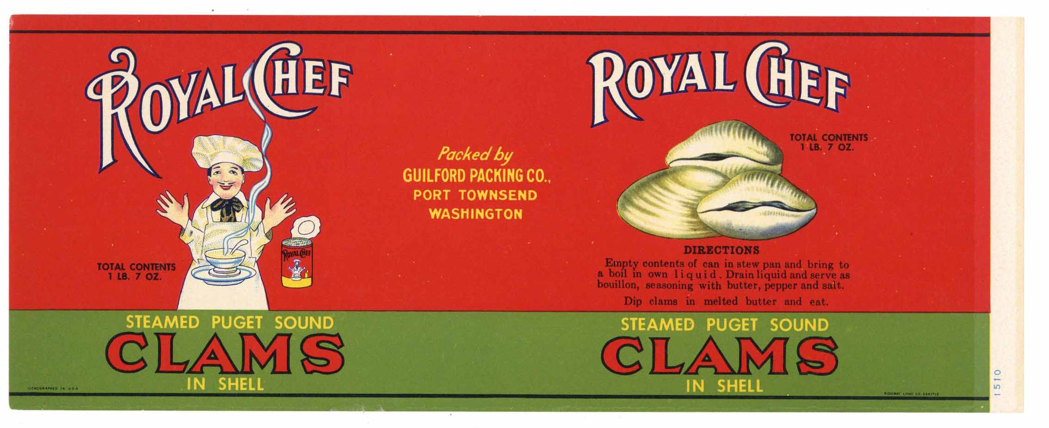 Royal Chef Brand Vintage Port Townsend Clam Can Label