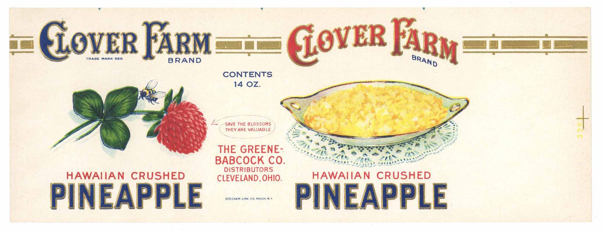 Clover Farm Brand Vintage Ohio Pineapple Can Label
