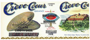 Creve-Coeur Brand Vintage Clam Chowder Can Label, closed clam